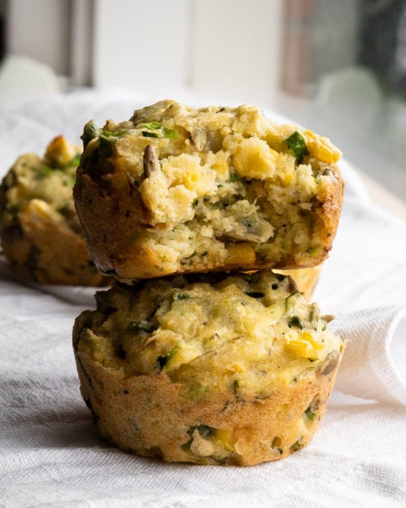 zucchini and polenta breakfast muffin bite