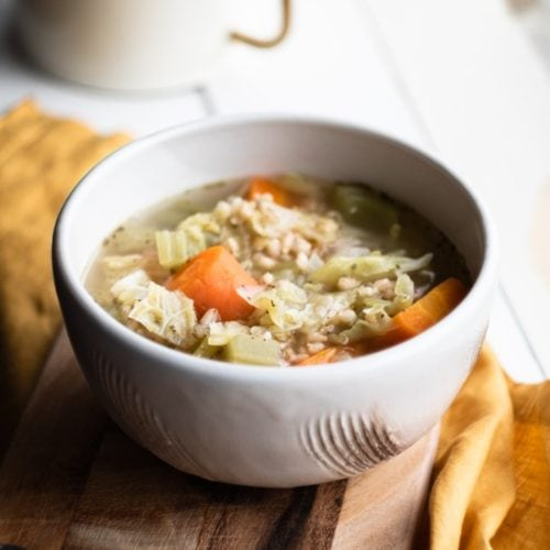 Vegetable and Barley Soup from the side