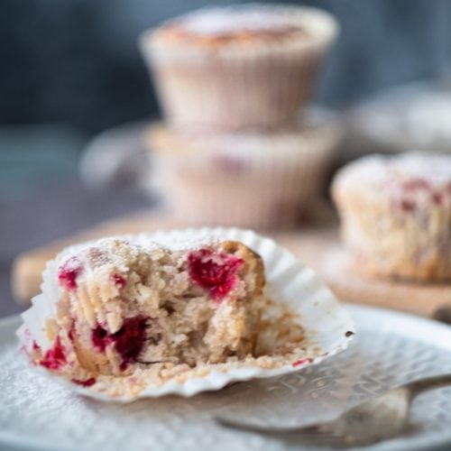 vegan raspberry coconut muffin bite from the side