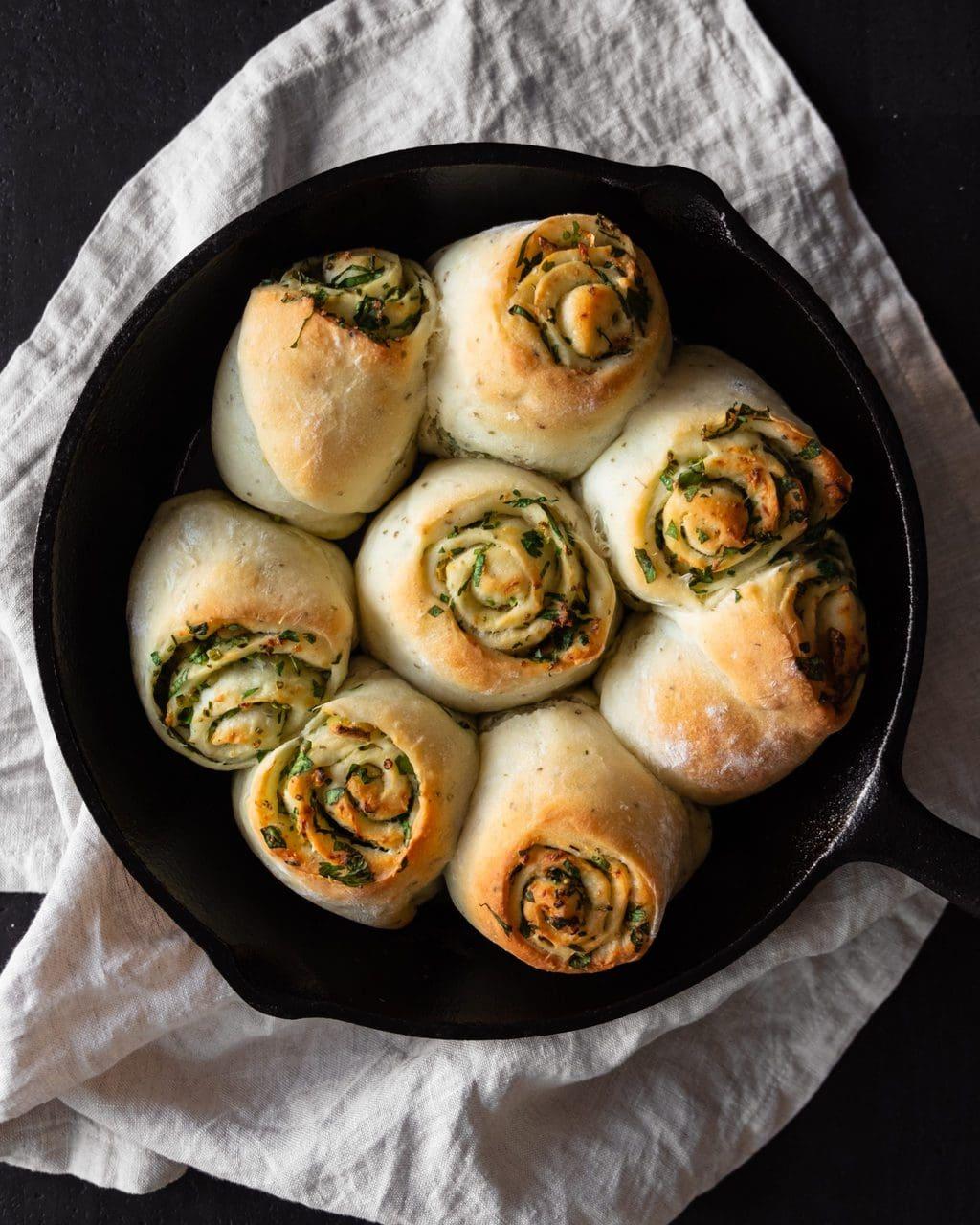 garlic bread scrolls from above