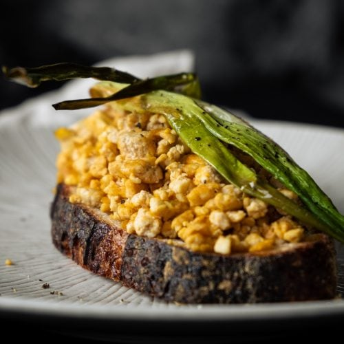 scrambled tofu from the side